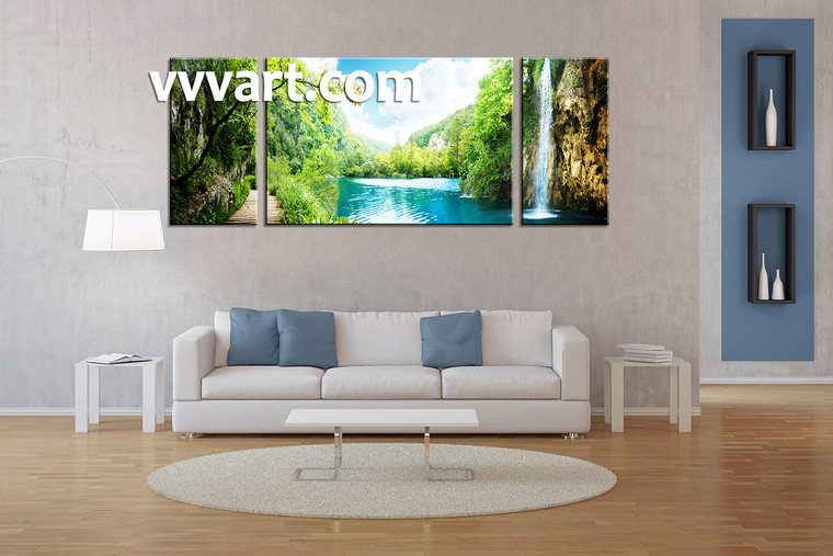 Living room Decor,3 piece canvas wall art, waterfall multi panel canvas, mountain canvas prints, scenery canvas photography