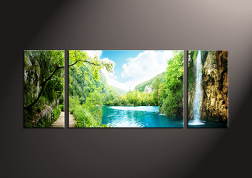 Home wall Decor, 3 piece canvas art prints,waterfall canvas print, mountain group canvas, ocean pictures