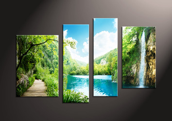 Home Decor,4 piece canvas wall art, ocean multi panel canvas, waterfall canvas prints, Scenery canvas photography