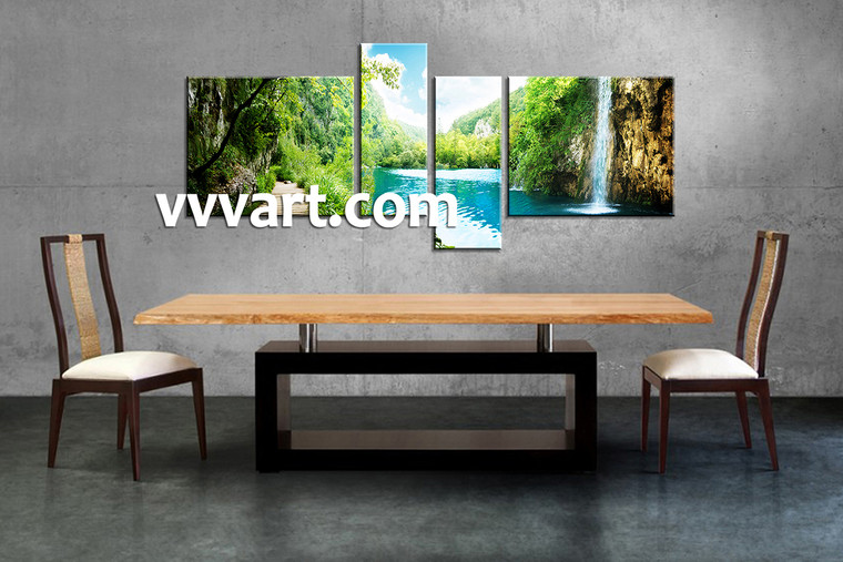 Dining room Decor,4 piece canvas wall art, Scenery multi panel canvas, ocean canvas prints, waterfall canvas photography