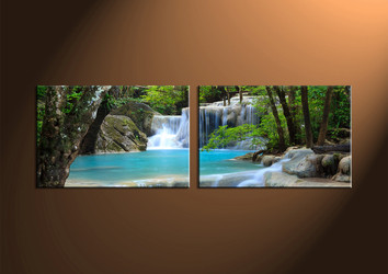 Home Decor,2 piece canvas wall art, Scenery multi panel canvas, ocean canvas prints, waterfall canvas photography