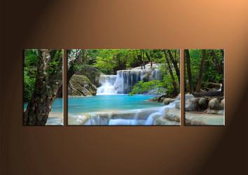 Home Decor, 3 Piece Wall Art, ocean multi panel art, scenery photo canvas, waterfall artwork