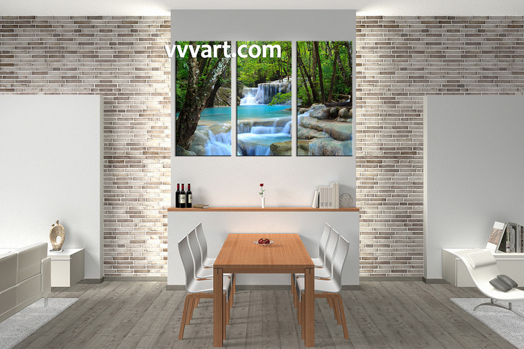 Dining room Decor,3 piece canvas wall art, ocean multi panel canvas, waterfall canvas prints, scenery canvas photography
