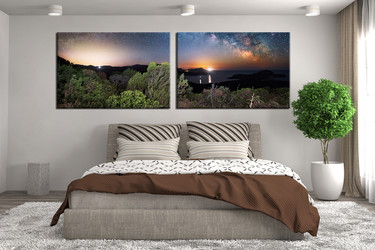 Bedroom Decor, 2 Piece Wall Art,ocean multi panel art, scenery art, waterfall canvas print