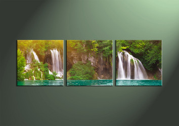 3 Piece Green Canvas Ocean Waterfall Artwork,Panoramic Decor
