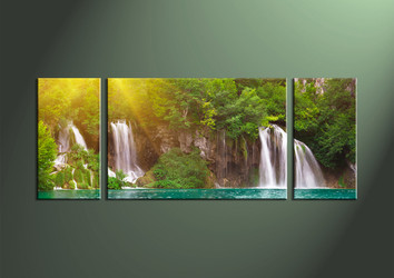 3 Piece Ocean Waterfall Green Canvas Artwork,Wide Decor Art
