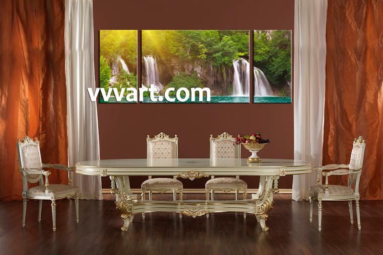 Dining Room Wall Decor, 3 Piece Wall Art, ocean multi panel art, waterfall artwork, scenery art