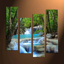 Home Wall Decor, 4 Piece Wall Art, ocean multi panel art, scenery photo canvas, waterfall artwork