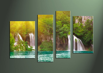 4 Piece Ocean Waterfall Green Canvas Large Pictures