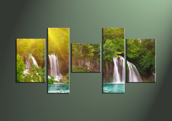 Home Decor, 5 Piece Wall Art,ocean multi panel art, scenery canvas art, waterfall multi panel art