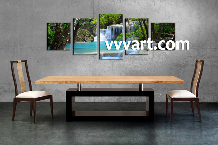 Dining Room Wall Decor, 5 Piece Wall Art, scenery multi panel art, ocean photo canvas, waterfall artwork