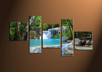 Home Decor, 5 piece canvas wall art, ocean multi panel canvas, Scenery canvas prints, waterfall canvas photography