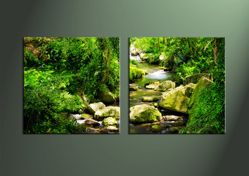 Home Decor, 2 Piece Wall Art, waterfall multi panel art, scenery photo canvas, scenery artwork