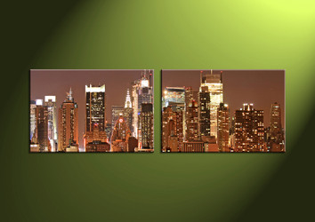 Home Decor, 2 Piece Wall Art, 2 piece multi panel art, scenery canvas art, city multi panel art