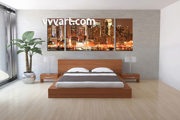 3 Piece Wall Art, city multi panel art, scenery art, scenery canvas print,Bedroom Decor