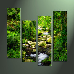 Home Wall Decor, 4 Piece Wall Art, waterfall multi panel art, scenery photo canvas, scenery artwork