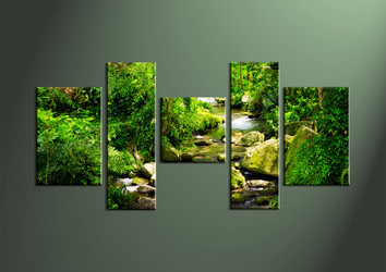Home Decor, 5 piece canvas wall art, scenery multi panel canvas, Scenery huge canvas, waterfall large pictures