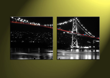 Home Decor, 2 Piece Wall Art,city multi panel art, scenery canvas art, bridge multi panel art