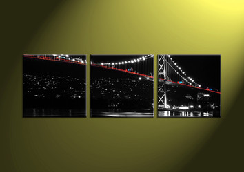 Home Decor, 3 Piece Wall Art,city multi panel art, scenery art, bridge canvas print