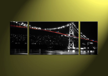 Home Decor,3 piece wall art, city multi panel art, scenery group canvas, bridge huge picture