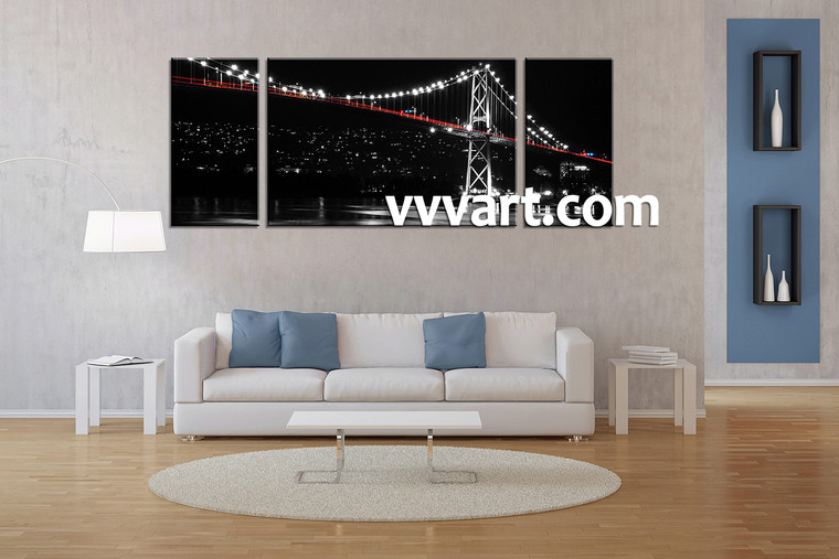 Living Room Wall Art, 3 Piece Wall Art, bridge multi panel art, scenery wall art, city huge pictures