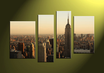 home decor, 4 piece canvas wall art,city multi panel canvas, city large canvas , wall art