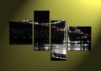 Home Decor, 4 Piece Wall Art,city multi panel art, scenery canvas art, bridge multi panel art