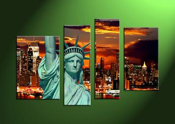 Home Décor, 4 Piece Wall Art, City multi panel art, City Artwork, City Wall Art