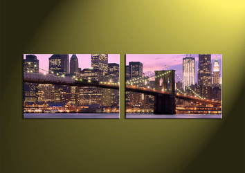 Home Art, 2 Piece Wall Art,city multi panel art, building canvas art, bridge multi panel art