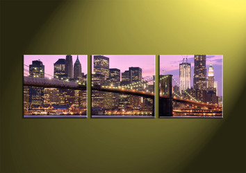 Home Decor, 3 Piece Wall Art,city multi panel art, scenery canvas art, bridge multi panel art