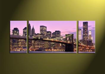 Home Wall Decor,3 piece wall art, city multi panel art, bridge canvas art, scenery canvas print