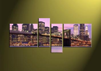 Home Art, 4 Piece Wall Art,city multi panel art, building canvas art, bridge multi panel art
