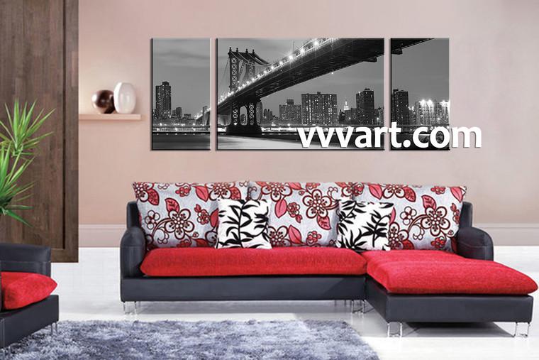 Living Room Wall Decor, 3 piece canvas art prints, black and white canvas print, city artwork, city large canvas