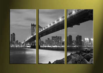 Home Decor, 3 piece canvas wall art, city multi panel canvas, city artwork, black and white pictures