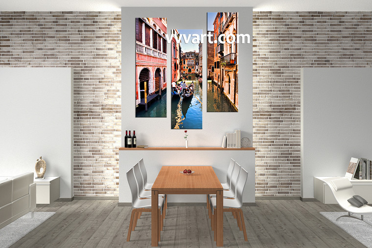 Dining room Wall Decor, 3 piece canvas wall art, gondola multi panel canvas, city large canvas, scenery artwork