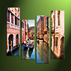 home decor,4 piece canvas art prints, gondola canvas print, city canvas print,  scenery large canvas