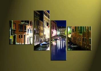 home decor, 4 Piece Wall Art, city multi panel art, scenery canvas art, gondola multi panel art