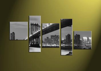 Home Decor, 5 piece canvas wall art, black and white multi panel canvas, city wall art, city artwork