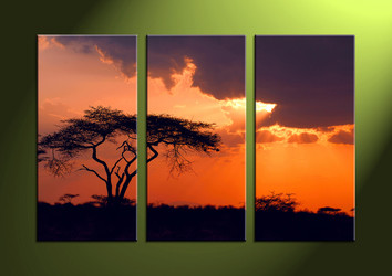 wall art,  3 piece wall art, sunset canvas print, scenery art, scenery artwork