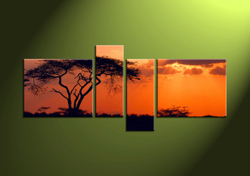 wall art, sunset canvas art, 4 canvas print, scenery art, scenery artwork