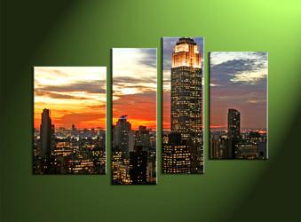 Home Decor,4 piece canvas art prints,city canvas print, city artwork, city wall art