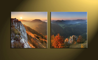 Home Decor, 2 piece canvas wall art,forest multi panel canvas, mountain canvas print, landscape canvas print
