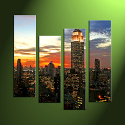Home Decor,4 piece canvas art prints,city canvas print, city artwork, city art