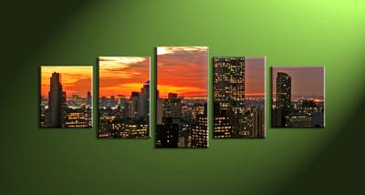 Home art, 5 piece canvas wall art,city multi panel canvas,city art,city huge canvas art