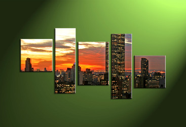 Home Decor, 5 piece canvas wall art,city multi panel canvas,city huge canvas art,city art