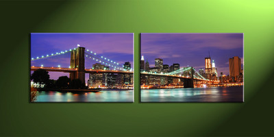 Home Decor, 2 piece canvas wall art,city multi panel canvas,city huge canvas art,city art