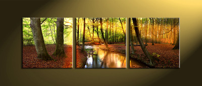 home décor, 3 Piece Wall Art, forest multi panel art, scenery canvas art, nature huge canvas art