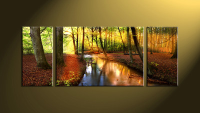 home décor, 3 Piece Wall Art, forest multi panel art, scenery canvas art, nature huge pictures