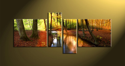 4 piece canvas wall art, forest multi panel canvas, scenery canvas art, autumn group canvas, home décor