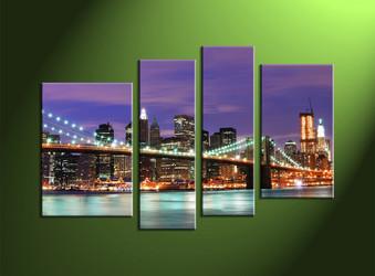 Home Décor, 4 Piece Wall Art, city multi panel art, city scape wall art, city artwork